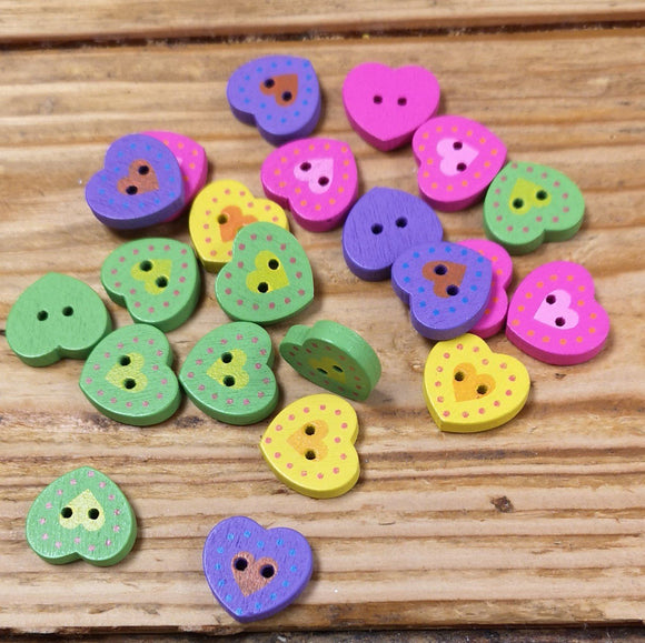 Buttons - Wooden Heart Button