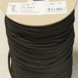 Knitted cord 4mm - black