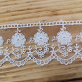 Embroidered tulle lace - ivory