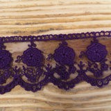 Embroidered tulle lace aubergine