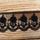 Embroidered tulle lace black