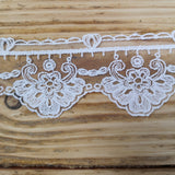 Embroidered Tulle Lace - white 50mm