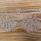 Embroidered Tulle Lace - putty 50mm