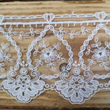 Embroidered Tulle Lace - white 95mm