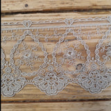 Embroidered Tulle Lace - putty 95mm