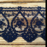 Embroidered Tulle Lace - navy 95mm
