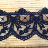Embroidered lace bows - navy 70mm