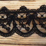 Embroidered lace bows - black 70mm