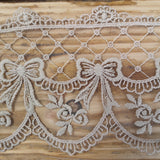 Embroidered lace bows - putty 95mm