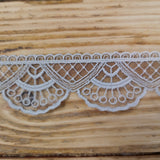 Embroidered lace, fan and scallop - 45mm grey