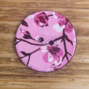 Enamelled Coconut Shell Buttons - Pink Flowers