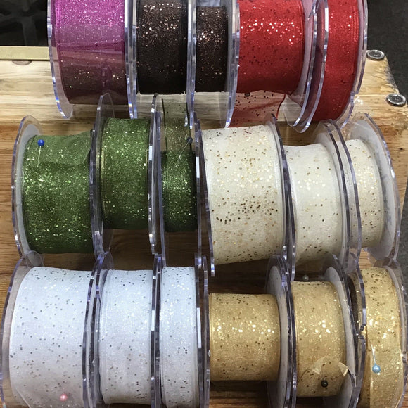 Glitter Ribbon - Wire Edge Glitter Ribbon