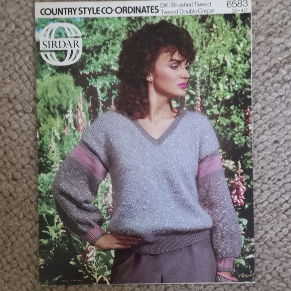 Knitting Pattern: Double Knitting - Sirdar Country Style Co-ordinates DK/ Brushed Tweed/Tweed Double Crepe 6583