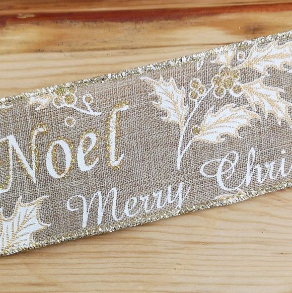 Ribbon - Merry Christmas Hessian Wired Ribbon