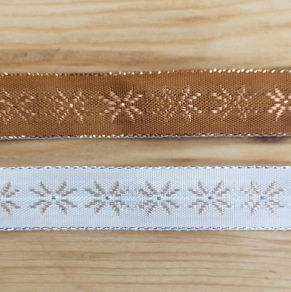 Ribbon - Ribbon With Woven Metallic Snowflake Design