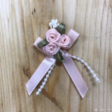 Ribbon Roses - Ribbon Rose Cluster With Pearls