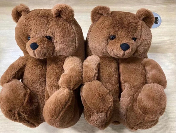 Dark Brown Teddy Slippers