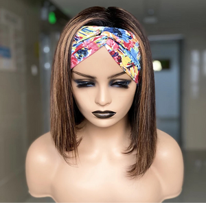 Unique'ly Beauty ~ Brown Bob Human Hair HeadBand Wig