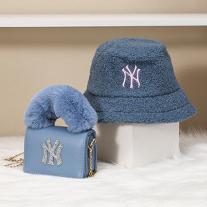 "Blue ""NY"" Bucket Hat and Bag Set"