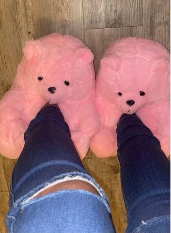 Pink Teddy Slippers