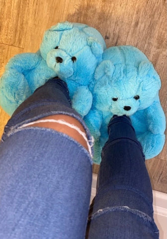 Blue Teddy Slippers