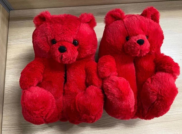 Red Teddy Slippers