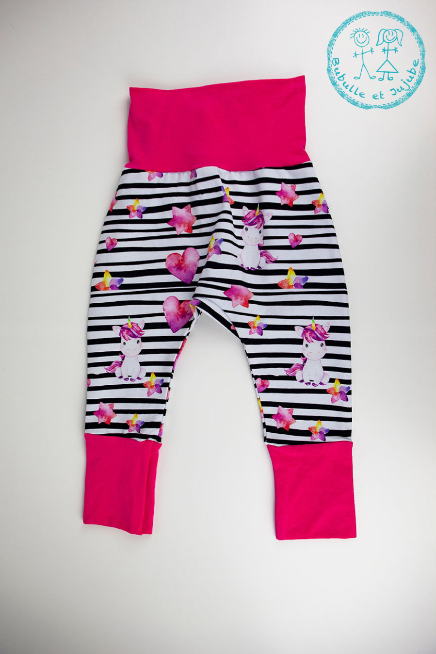 Pantalons évolutifs - Licornes rayées / Grow with me pants - Unicorns