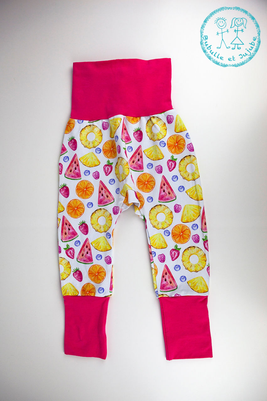 Pantalons évolutifs - Ananas, melon d'eau et fraises / Grow with me pants - Pineapple, watermelon and strawberry