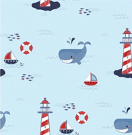 Tablier de bain - Baleines et phares - Bath Apron - Lighthouse and whales