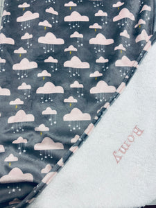 Tablier de bain - Nuages roses - Bath Apron - Pink Clouds