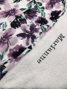 Tablier de bain - Fleurs mauves - Bath Apron - Purple flowers