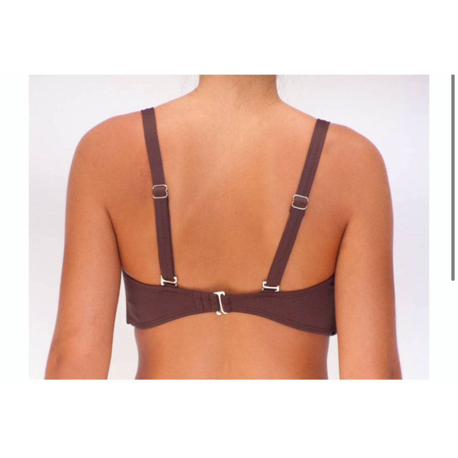 D cup Bandeau Chocolate Solid