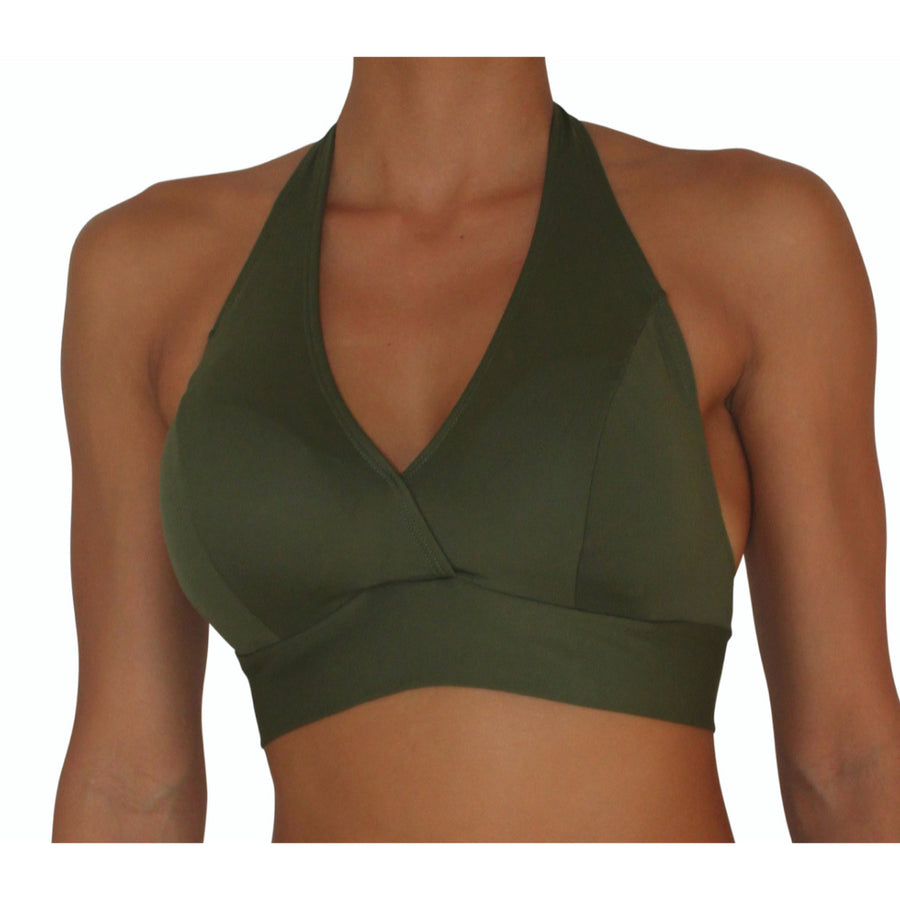 D cup Halter Olive Solid