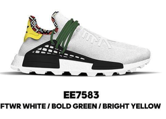 Adidas Pharrell Williams PW NMD Inspiration Pack FTWR White Bold Green Bright Yellow EE7583
