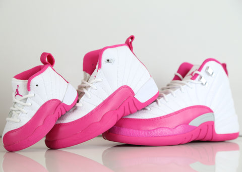 Girls Nike Air Jordan Retro 12 Vivid Pink 510815-109 TD PS and GS 2c-9.5Y