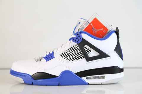 Nike Air Jordan Retro 4 Motorsport White Game Royal Blue 2017 Adult and GS Kids (NO Codes)