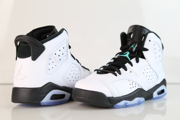ca5b7aa82c84 ... Nike Air Jordan Retro 6 White Hyper Jade Black BG GS 384665-122 2017 ...