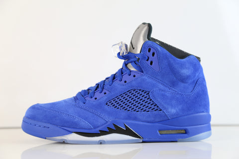 Nike Air Jordan Retro 5 Blue Suede Game Royal Black 136027-401 (NO Codes)