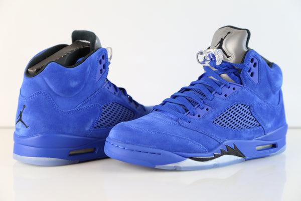 b67a7f83c82eb ... Nike Air Jordan Retro 5 Blue Suede Game Royal Black 136027-401 (NO  Codes ...