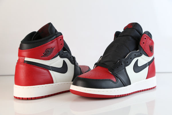 255e266549a3 ... Nike Air Jordan Retro 1 High OG Bred Toe Black Summit White Gym Red  555088-