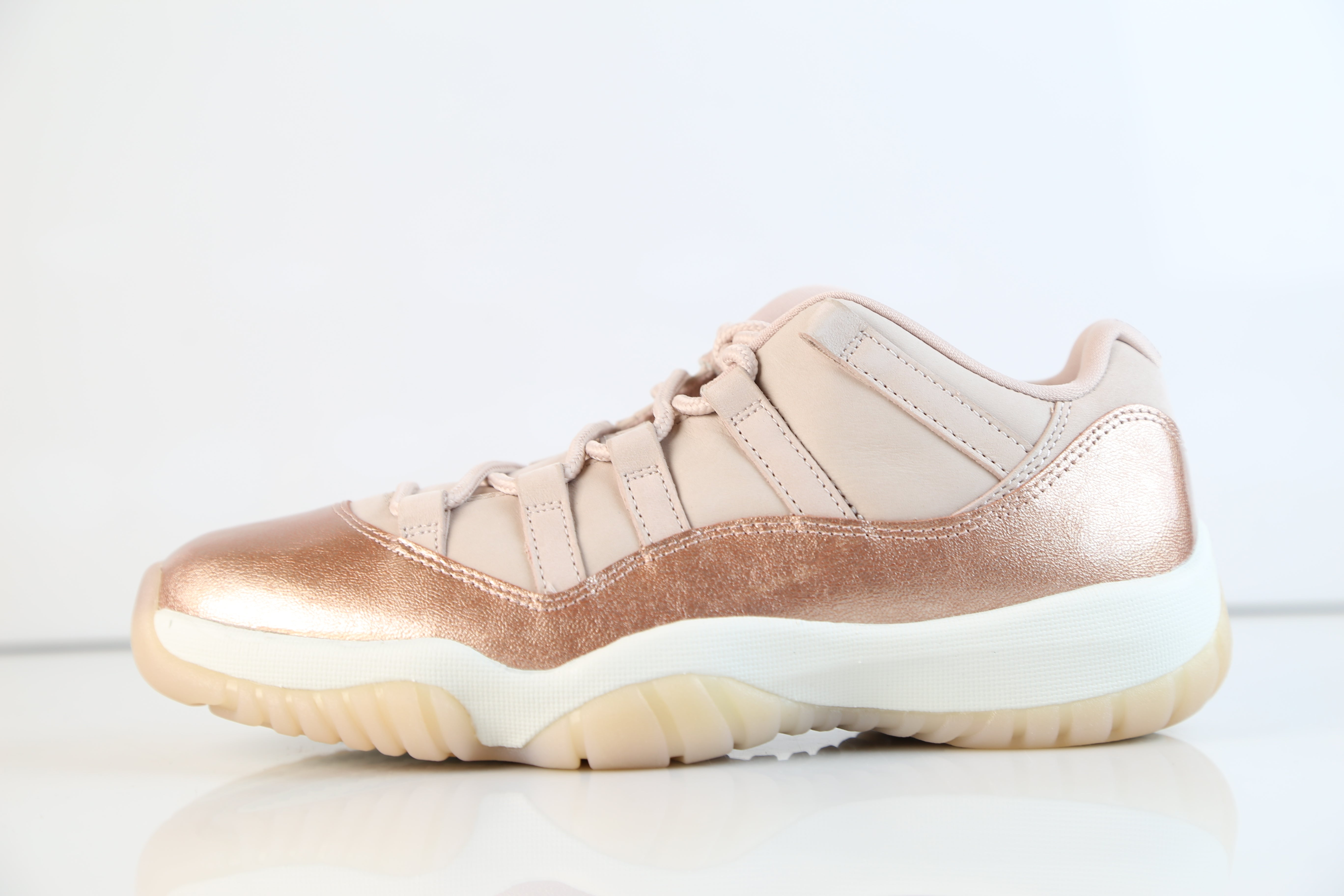 813945806c9e Nike Womens Air Jordan Retro 11 Low Rose Gold Red Bronze Sail AH7860 ...