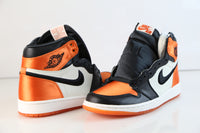 Nike Womens Air Jordan Retro 1 High OG Satin Shattered Backboard Black Starfish AV3725-010