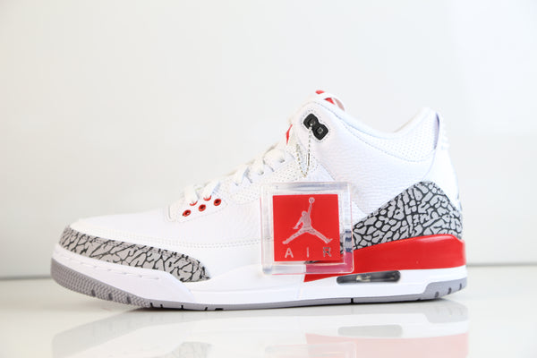 huge discount ec535 c3bbb ... Nike Air Jordan Retro 3 Katrina Hall of Fame White Fire Red Cement Grey  136064- ...