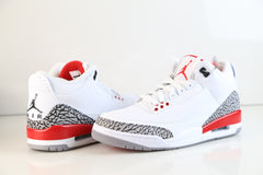 Nike Air Jordan Retro 3 Katrina Hall of Fame White Fire Red Cement Grey 136064-116 Adult GS