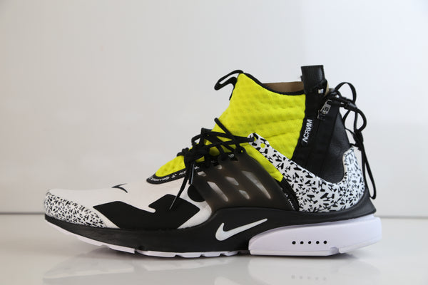Nike X Acronym Air Presto Mid White Dynamic Yellow Black 2018 AH7832-100