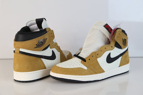 2720c1fd6e6 ... Nike Air Jordan Retro 1 High OG ROY Rookie of the Year Wheat Golden  Harvest 555088 ...