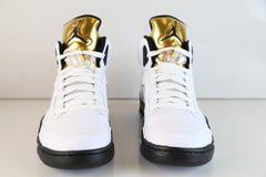 Nike Air Jordan Retro 5 White Gold Tongue Olympic 2016 136027-133 (NO Codes)