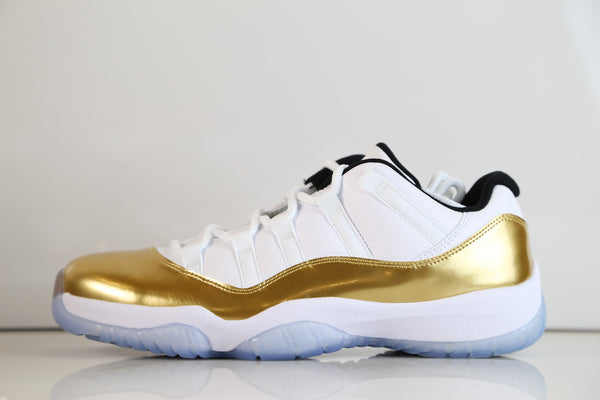 Nike Air Jordan Retro 11 Low Olympic Closing Ceremony White Metallic Gold 528895-103 Adult and GS