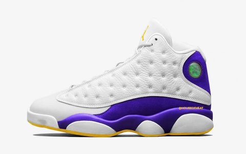 23c1479f6b038b Nike Air Jordan Retro 13 Laker Rivals White Court Purple University Gold  414571-105 PRE