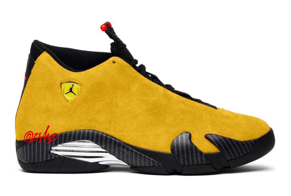 Nike Air Jordan Retro 14 SE Reverse Ferrari University Gold Suede Red BQ3685-706 - THANKS